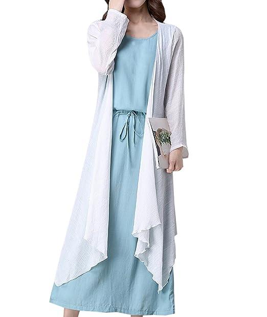 Fräulein Fox Verano Mujeres Fiesta Dos Piezas Conjuntos Casual Manga Larga Cárdigans Kimono Tops + Moda