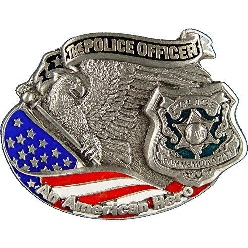 The Police Officer An American Hero Belt Buckle Enamel Red White & Blue