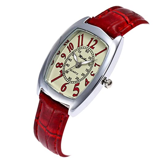 Amazon.com: Womens Metal Retro Casual oval Dial Quartz Analog Wrist Watch with Leather Band,GINELO (Red): Cell Phones & Accessories