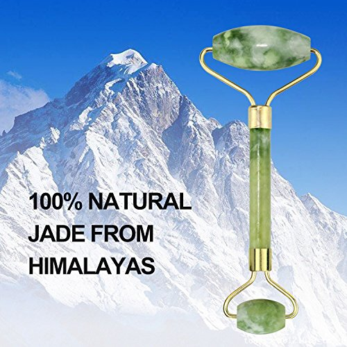 Beauty Jade Roller Cubbe Facial Roller Real Premium Handmade 100% Natural Jade Stone Massager Anti Aging Facial Therapy Anti Wrinkle And Skin Rejuvenate by Cubbe (Image #1)