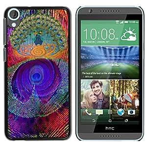 Paccase / SLIM PC / Aliminium Casa Carcasa Funda Case Cover para - Feather Colorful Vibrant Neon - HTC Desire 820