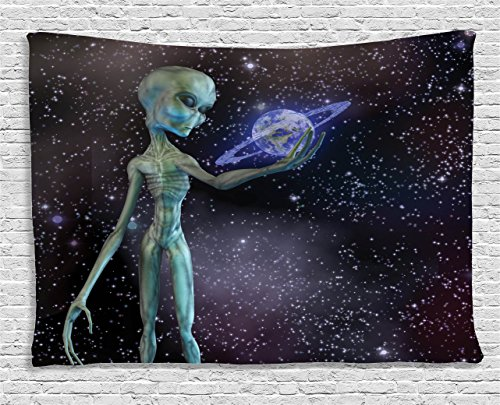 Outer Space Decor Tapestry by Ambesonne, Alien Body Planet in Milky Way Star Clusters Extraterrestrial Creature Image, Wall Hanging for Bedroom Living Room Dorm, 80WX60L Inches, Multi