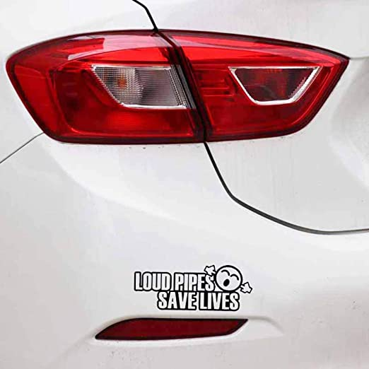 nobranded 13CM*5CM Funny Loud Pipes Save Lives Vinyl Car-Styling Car Sticker Black Silverdecals Cute Window Glass Car Door Mirror