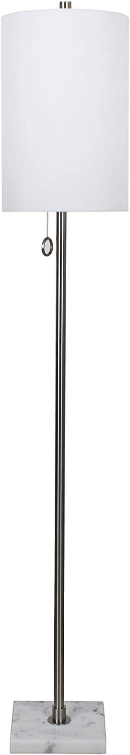 "Sagebrook Home 50417-02 Metal 62"" Floor Lamp with Marbel Base, Silver"