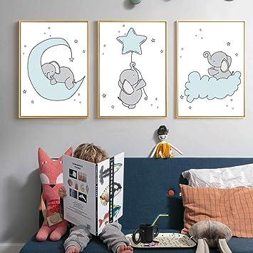 Nórdico Cartel de Dibujos Animados Elefante Arte de La Pared ...
