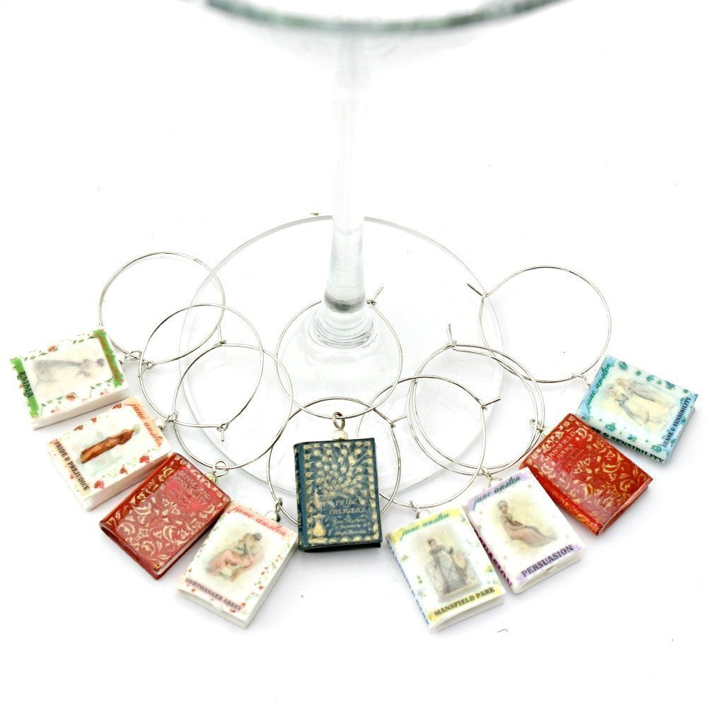 Jane Austen Clay Mini Book Wine Glass Beverage Charms by Book Beads