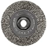 Weiler Trulock Narrow Face Wire Wheel Brush, Threaded Hole, Stainless Steel 302, Crimped Wire