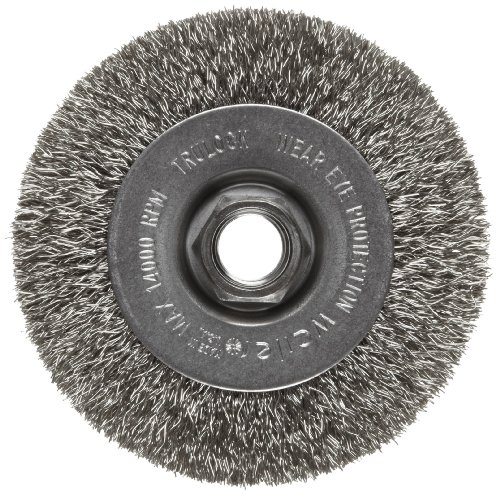 Weiler Trulock Narrow Face Wire Wheel Brush, Threaded Hole, Stainless Steel 302, Crimped Wire, 4