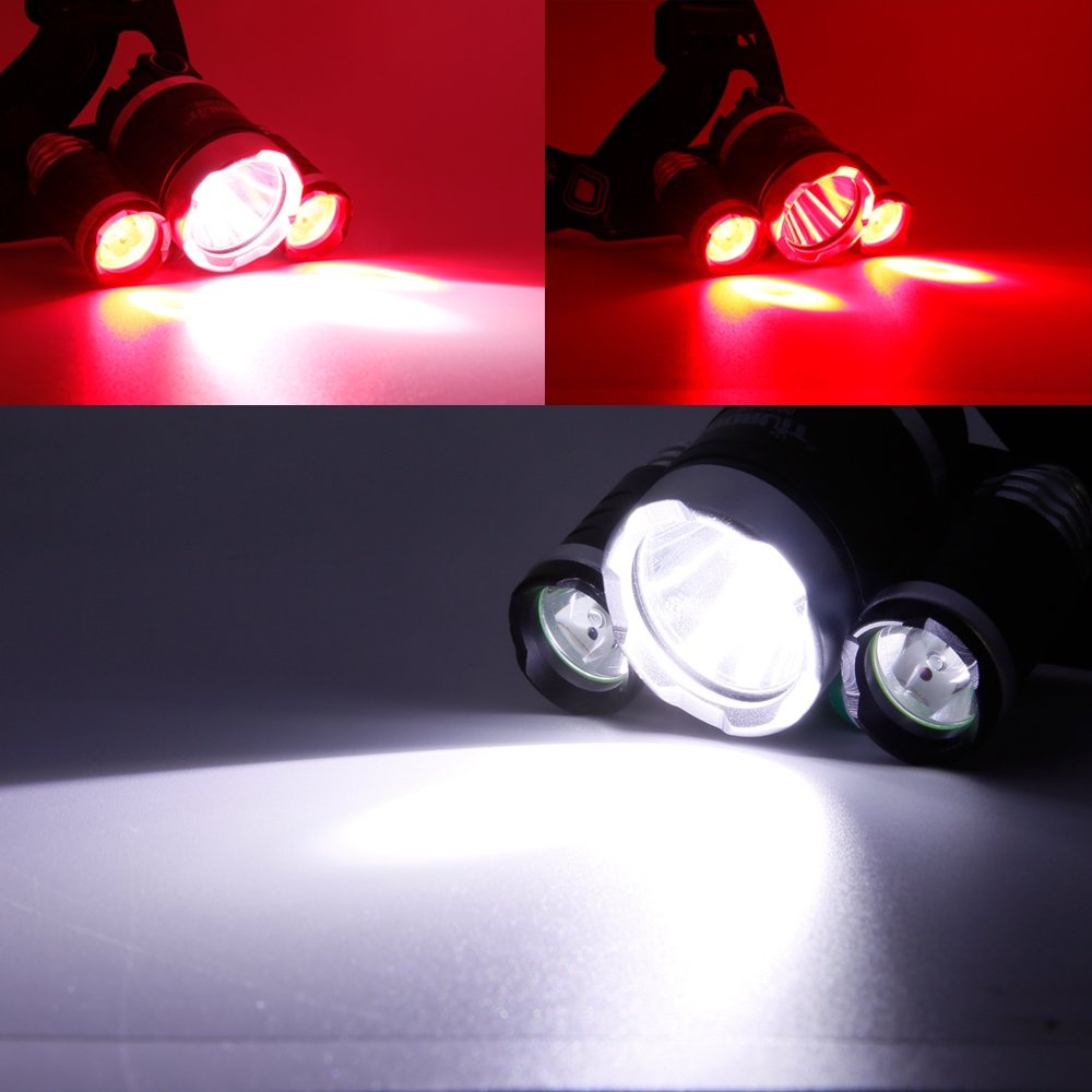 """Boruit 1155 Super Bright RED CREE LED Headlamp Brightness Setting"""