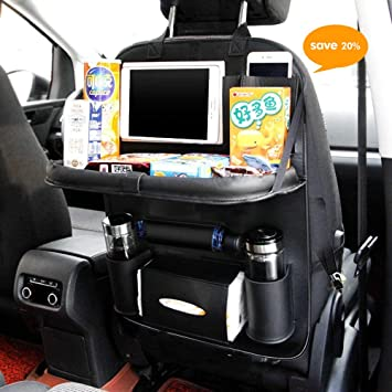 Universal Leather Car Seat Back Holder Storage Organiser Bag Foldable Table Tray
