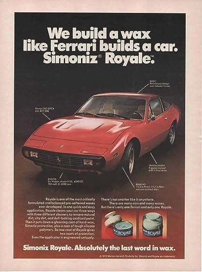 Amazon Com Magazine Print Ad 1973 Red Ferrari 365 Gtc4 Pininfarina Design V 12 27500 For Simoniz Royale Car Wax We Build A Wax The Way Ferrari Builds A Car Entertainment Collectibles