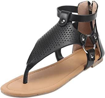 Summer Sandals,Nevera 2020 Newest Women T-Strap Flat Sandal Woman Open Toe Beach Bohemia Zipper Perforation Shoes Black