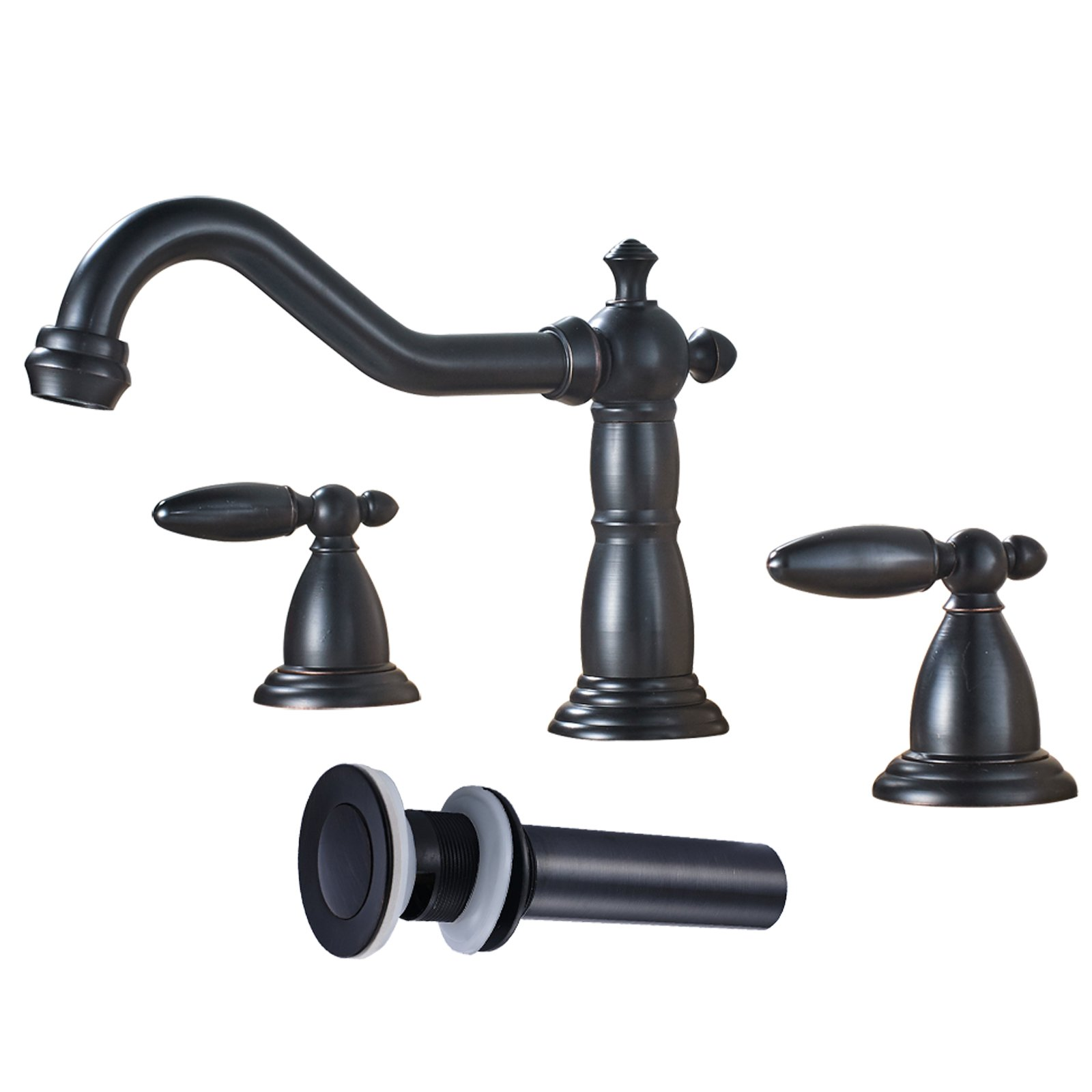 Votamuta Deck Mounted Bathroom Basin Sink Faucet Dual Handles Widespread Lavatory Mixer Tap with Pop Up Drain,Oil Rubbed Bronze