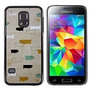 iKiki Tech / Estuche rígido - Dogs Dachshund Teal Gold Pattern - Samsung Galaxy S5 Mini, SM-G800, NOT S5 REGULAR!