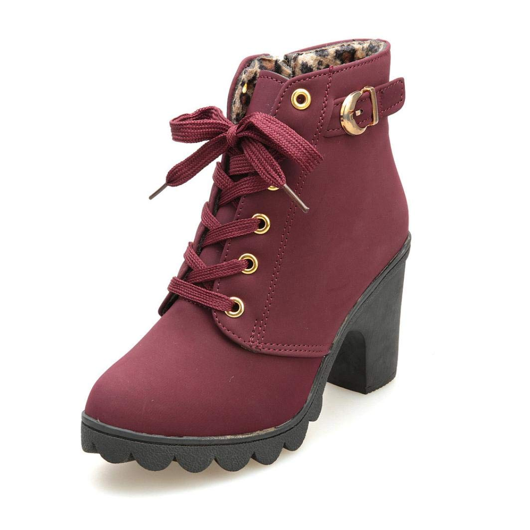 HCFKJ Stiefel, Herbst Winter Womens Fashion High Heel schnüren Sich Ankle Boots Damen Schnalle Plateauschuhe