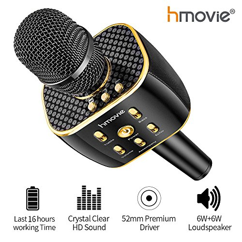 Great Recorder Bass (Karaoke Machine Pro Wireless Karaoke Microphone w/ 16 Hours Playtime Bluetooth Speaker for Singing, Recording, Interviews or Podcasts)