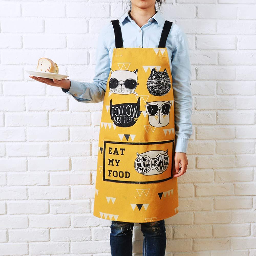 YXDZ Cute Cartoon Cotton and Linen Apron Men and Women Fashion Kitchen Cooking Waist Baking Restaurant Oil-Proof Overalls Women's Gown Yellow 2 9292Cm by YXDZ