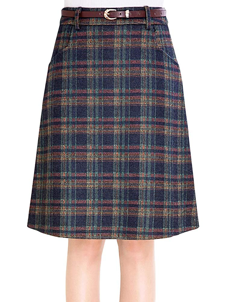 60s Skirts | 70s Hippie Skirts, Jumper Dresses Womens Vintage Plaid A-Line Wool Blend Strecthy Office Midi Pencil Skirt with Pockets $30.99 AT vintagedancer.com