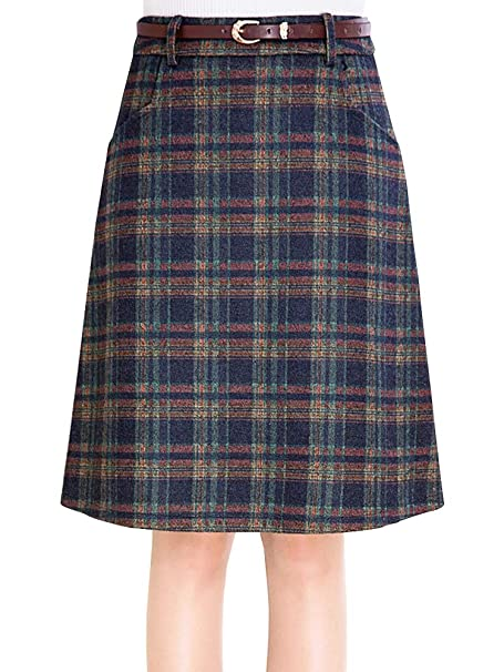 03a5a1d13447 Sobrisah Women's Plaid Wool Midi Skirt A-Line Vintage Winter Woolen Check  Print Plaid School Skirt with Belt Woolen Skirts Wool Skirts A-line Skirts  Wool ...