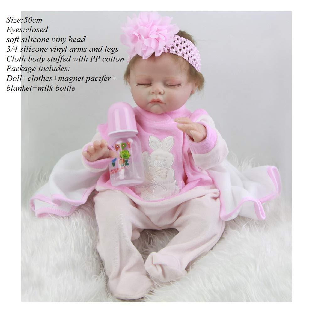 Danping Bambola Realistica In Silicone Da 19-20 Pollici, Morbido Vinile Reborn Baby Gift Doll Toy (3)