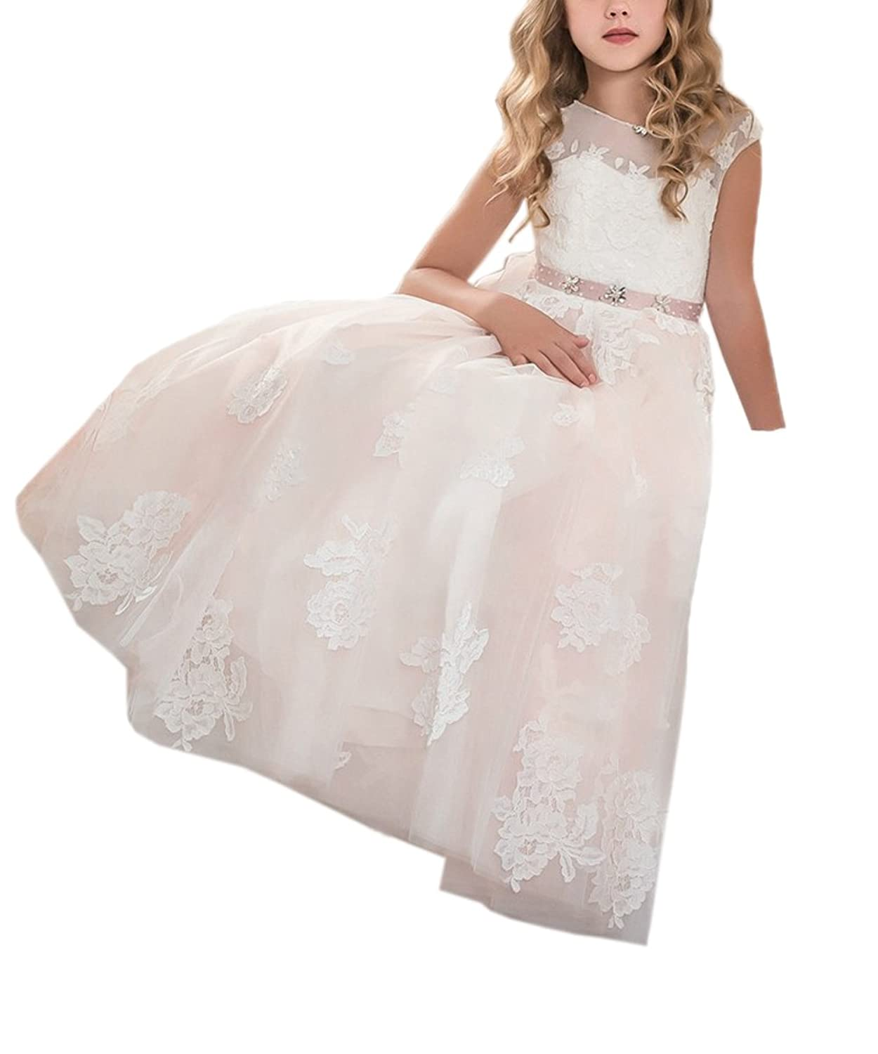 cb421ce328f2 Abaosisters Princess Flower Girl Dresses Cap Sleeves Kids Puffy Ball Gown