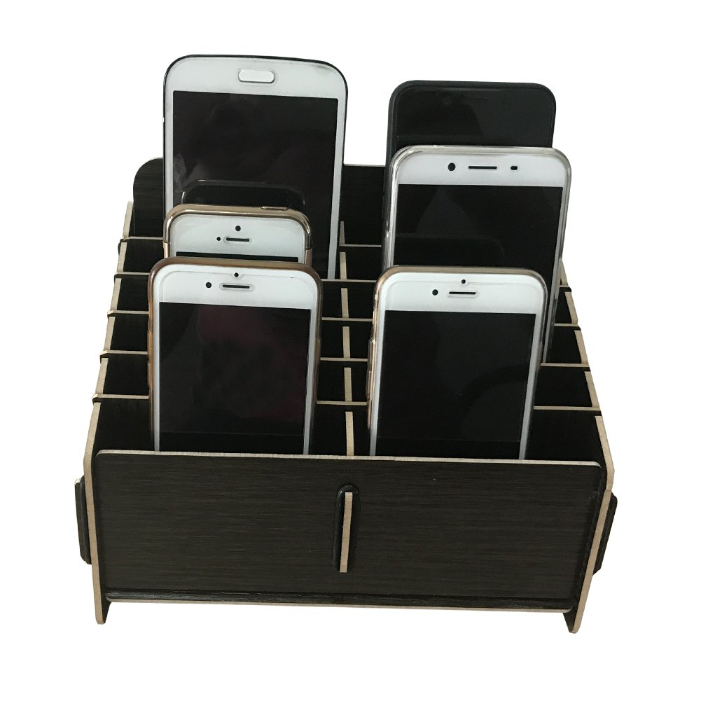 Loghot Wooden 12 Storage Compartments Multifunctional Storage Box for Cell Phones Holder Desk Supplies Organizer (Black) by Loghot (Image #1)