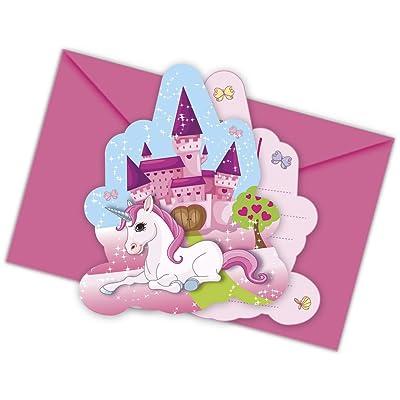 12-piezas Kit de invitación Unicornio para Cumpleaños Niños o Fiesta motos con 6 Tarjetas invitación y 6 Sobres niños cumpleaños fiesta Invitaciones Tarjetas Unicornio Niña Mundo de ensueño Candado: Juguetes y juegos