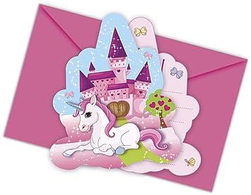 12 Piezas Kit De Invitación Unicornio Para Cumpleaños Niños