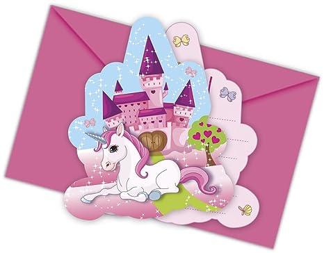 12 Piezas Kit De Invitacion Unicornio Para Cumpleanos Ninos O Fiesta