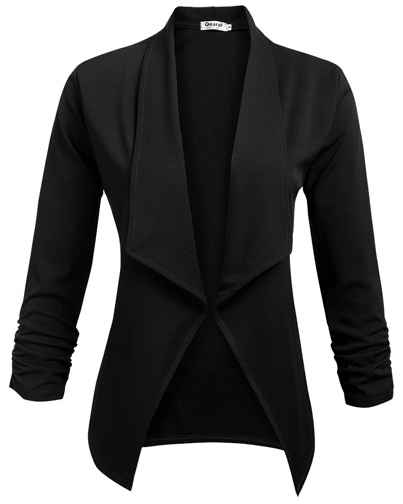 Qearal Women's Casual Draped Asymmetric 3/4 Ruched Sleeve Blazer Jacket Outwear (Black, (US 12-14) Large)
