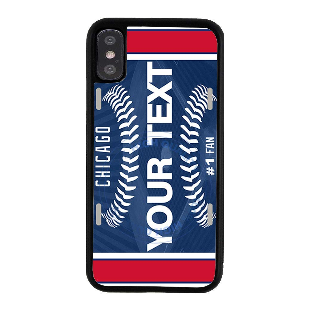 BRGiftShop Personalize Your Own Baseball Team Chicago Blue Rubber Phone Case For Apple iPhone XR