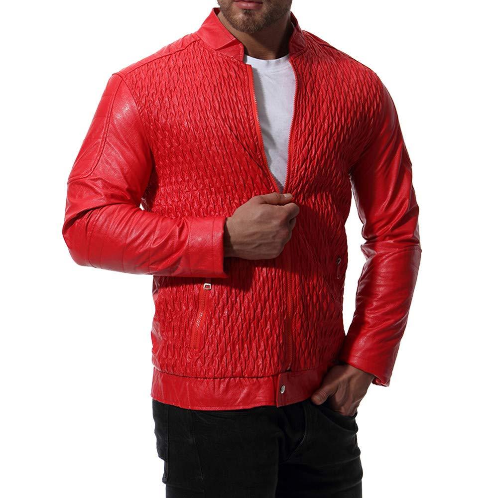 Men's Workwear for Men Autumn Winter Leather Biker Motorcycle Zipper Coat, Thick Coats Ennglun
