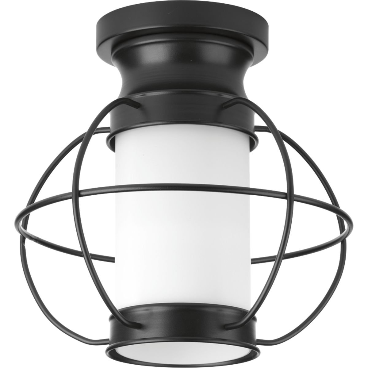Progress Lighting P550016-031 Haddon One-Light Flush Mount, Black by Progress Lighting
