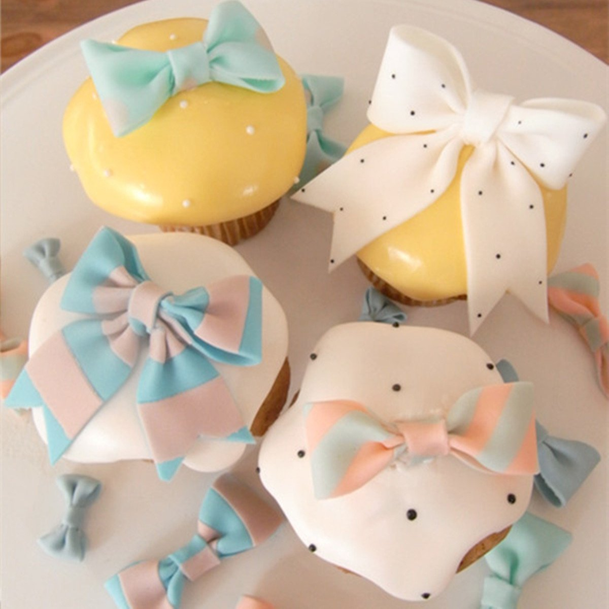 ribbon bowknot bow tie cutter set cookie impression mold plastic cutter fondant sugar paste cutter gum paste Modelling Tools for Cake Cupcake Toppers Decoration Pack of 3 by Anyana (Image #3)