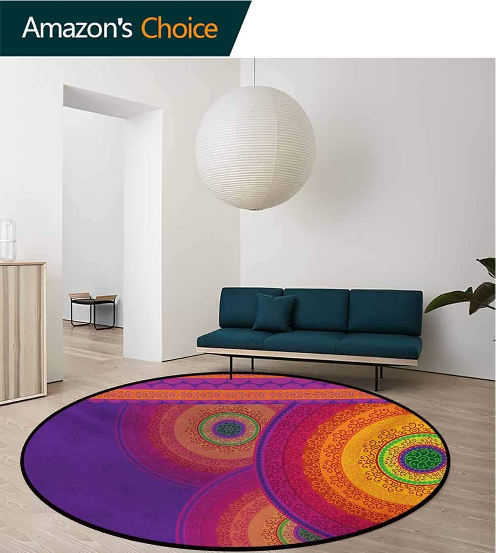 RUGSMAT Oriental Rug Round Home Decor Area Rugs,Colorful Mandala Design with South Asian Folklore Inspirations Bullseye Circles Non-Skid Bath Mat Living Room/Bedroom Carpet,Diameter-71 Inch