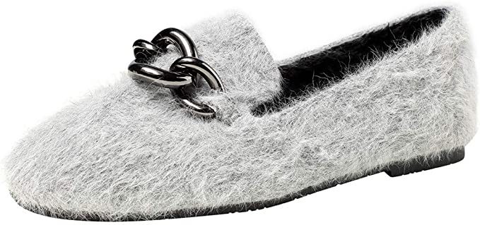 LuckyGirls Zapatos de Mujer Forro Polar Hebilla Metálica Slip On ...