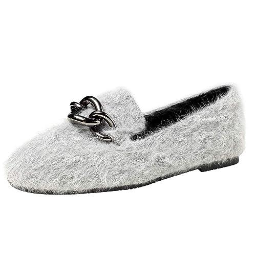 Zapatos de Vestir Plano para Mujer Invierno Primavera 2019 PAOLIAN Calzado de Loafer Fiesta Boda Elegantes Cómodo Suela Blanda Terciopelo Tallas Grandes ...