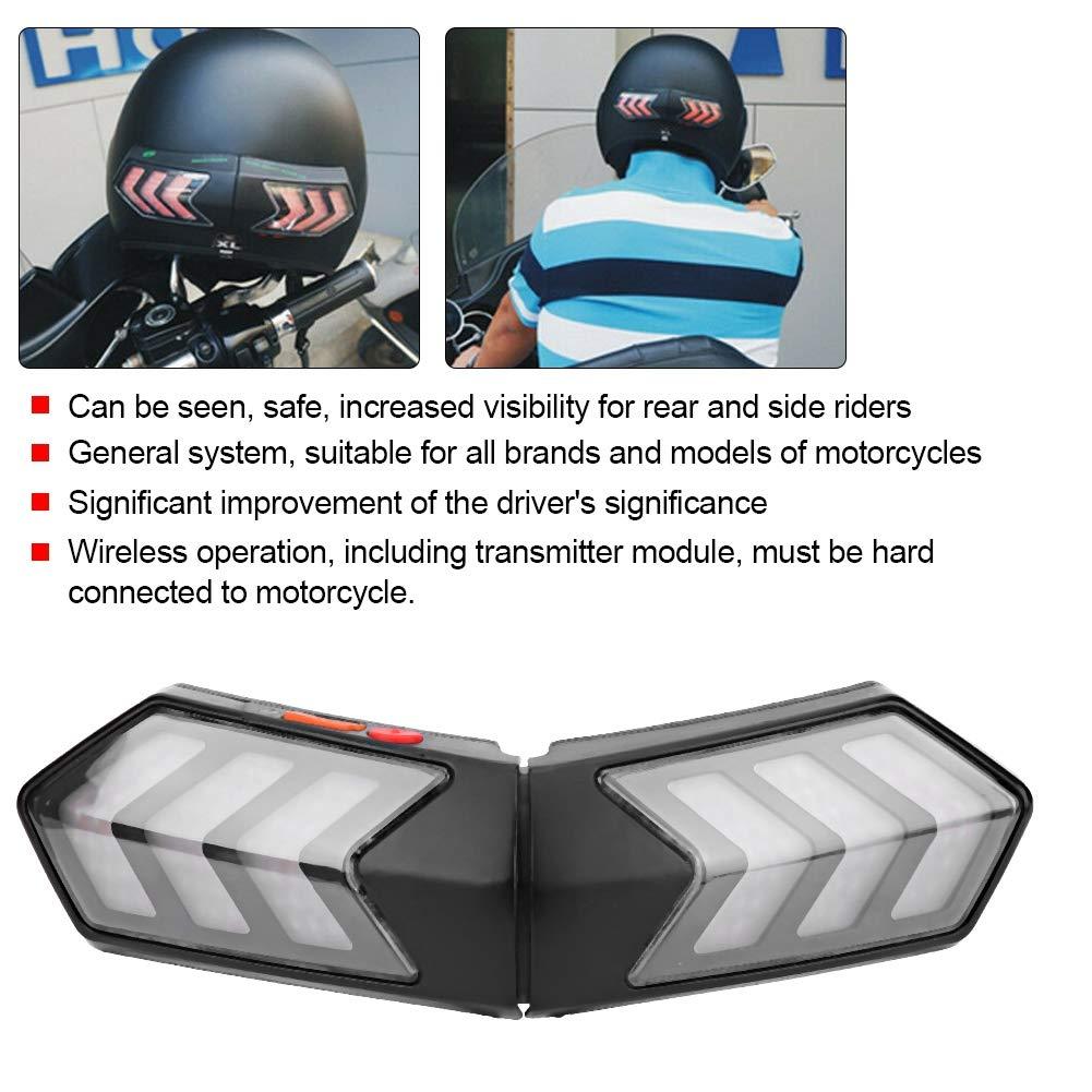 Qii lu Casco inal/ámbrico para motocicleta LED Luz de seguridad Moto Se/ñal de giro Advertencia Freno Barra de luces