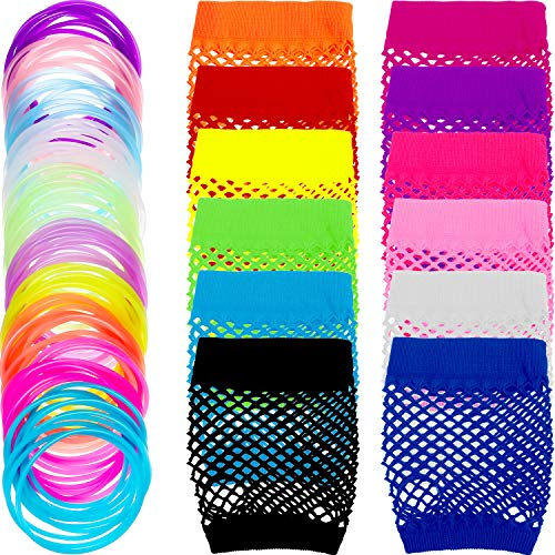 TecUnite 12 Pairs Neon Colored Fingerless Fishnet Gloves and 100 Pieces Multicolor Silicone Jelly Bracelets Luminous Hair Ties for Various Theme Parties -