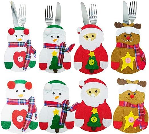 Kylewo Bolsa de Cubiertos Decoración de Mesa navideña para ...