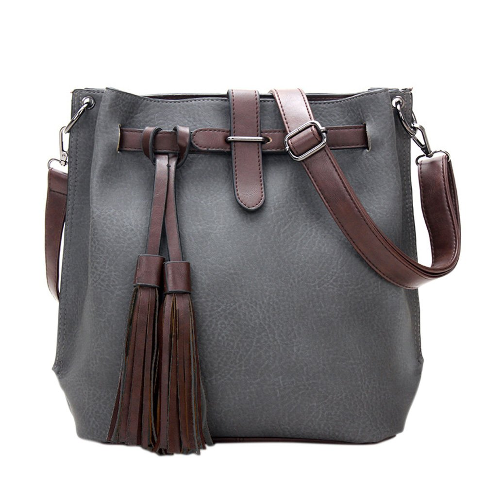 Meiyiu Women Fashion Tassel Handbag Shoulder Bag PU Leather All-Match Messenger Bag Satchel Tote Dark Gray