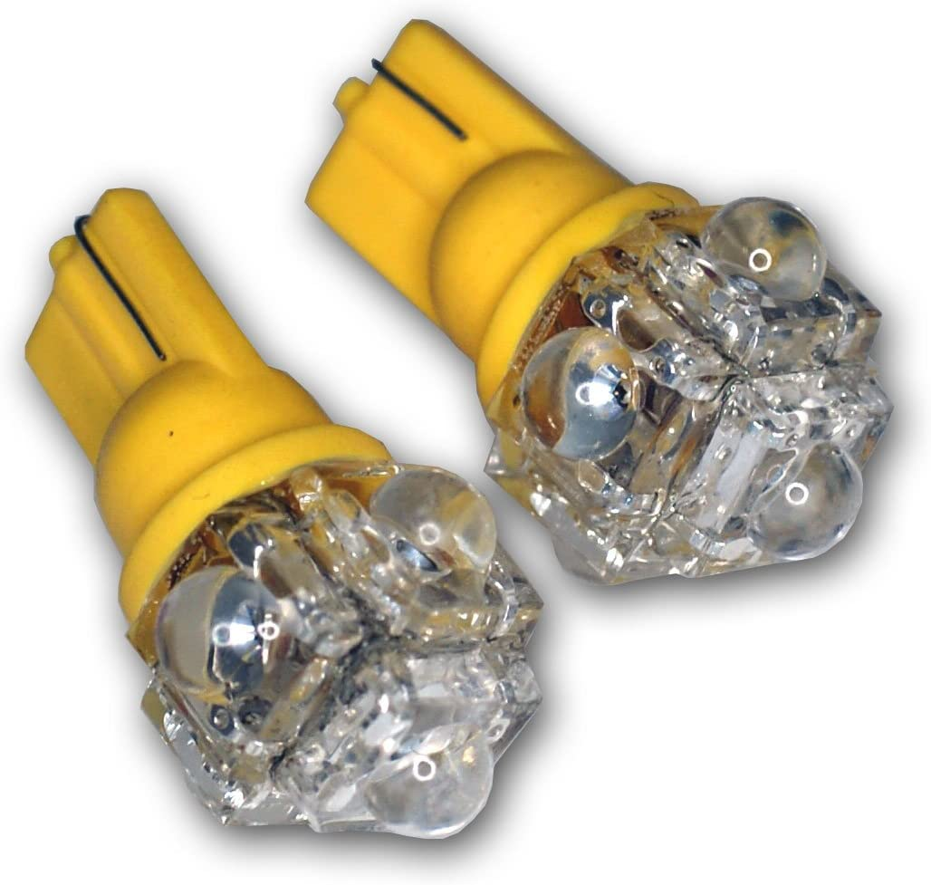 TuningPros LEDTL-T10-A5 Tail Light LED Light Bulbs T10 Wedge 5 Flux LED Amber 2-pc Set