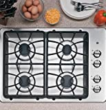"""30"""" Wide 4 Sealed Burner Gas Cooktop Matte Grates Dishwasher-Safe Grates and Knobs Continuous Grates: Stainless"""