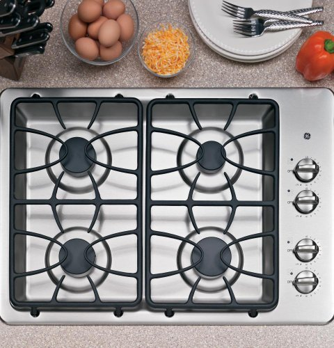 : GE 30-Inch 4 Sealed Burner Built-In Gas Cooktop, Stainless Steel