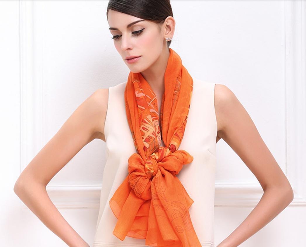 XYLUCKY Premium otoño e invierno Retro Super suave pañuelo de seda mujeres , orange