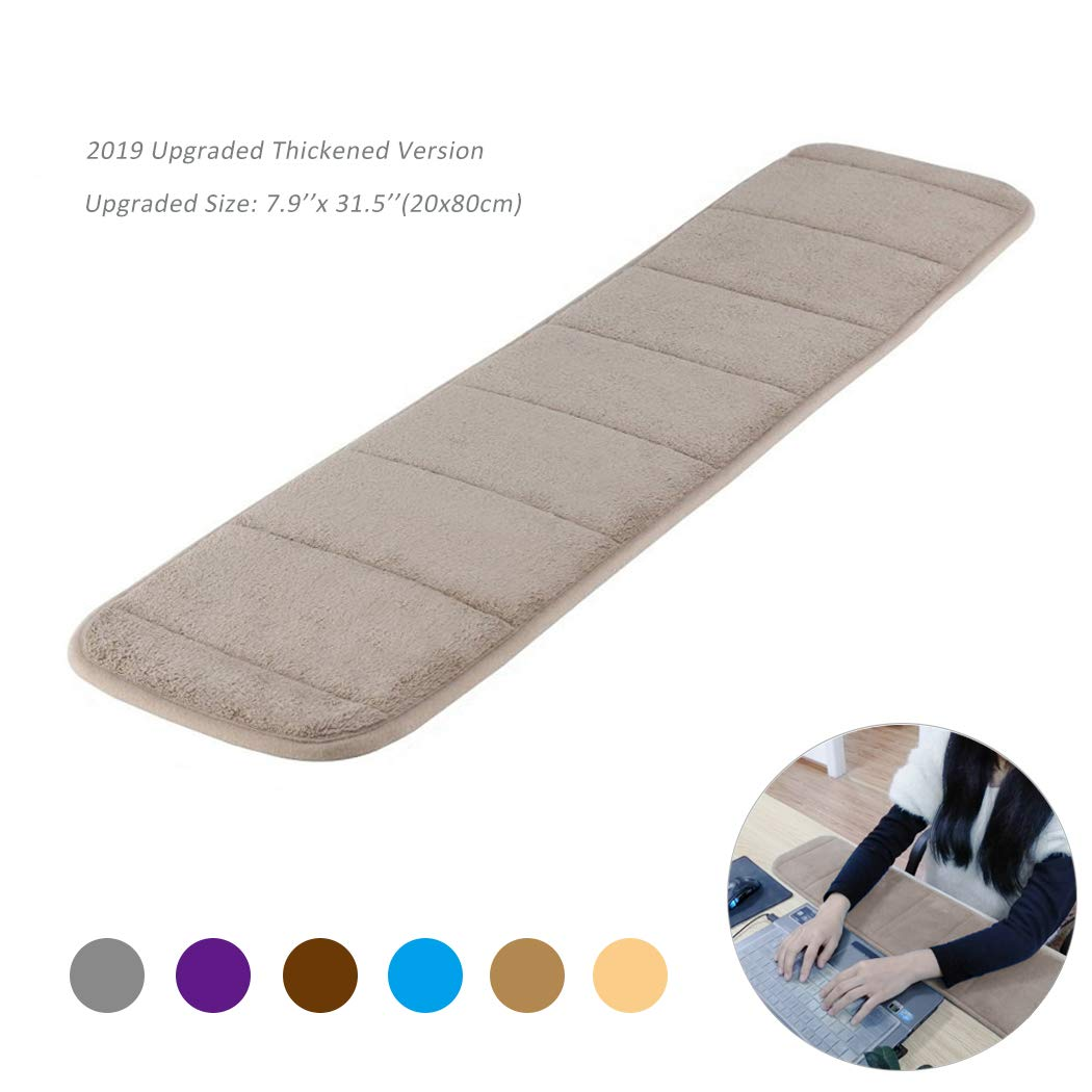 Upgraded Computer Wrist Elbow Pad Creatiees Premium Memory Cotton Desktop Keyboard Arm Rest Support Mat for Office Desktop Working Gaming Less Elbow Pain Long-Sized, 7.9 x 31.5 inch Camel