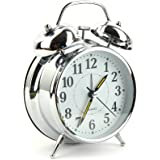 Vintage Style Alarm Clock - Twin Bell, Analog & Battery Operated for Heavy Sleepers and Travel Loud Alarm Clock