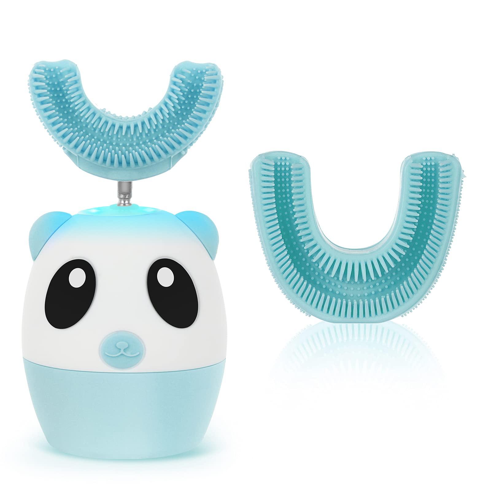 Kids Electric Toothbrush (with 2 Sizes U Shaped Brush) Ultrasonic Automatic Whitening