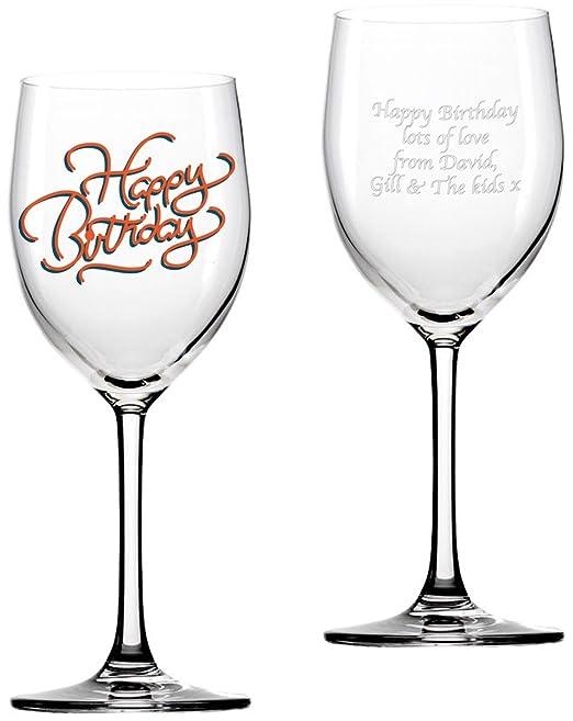 Personalizada de cumpleaños Copa de vino: Amazon.es: Hogar