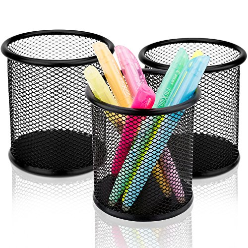 Pencil Holder Set Of 3 - Premium Black Mesh Pen Holders - Large & Sturdy Pencil Cups To Organize All Pens, Rulers & Scissors On Your Desk